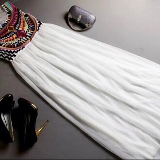 dress white dress multi colored