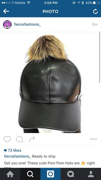 hat black leather pom pom beanie
