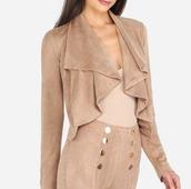 jacket,girl,girly,girly wishlist,nude,camel,suede,suede jacket,crop,cropped,cute,cropped jacket