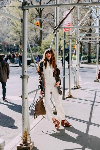 natalie off duty blogger shoes jumpsuit coat scarf
