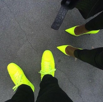 shoes neon pointed toe pumps neon yellow