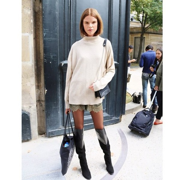 sweater boots shoes long short skirt girl