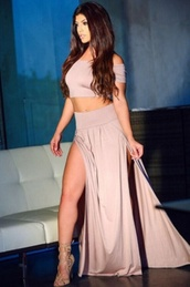 skirt,side split,party,wots-hot-right-now,two piece dress set,off the shoulder,sexy party dresses,celebrity style,maxi skirt