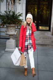 katie's bliss - a personal style blog based in nyc,blogger,coat,sweater,scarf,pants,hat,shoes,beanie,tartan scarf,ankle boots,red coat,winter outfits,hooded winter coat