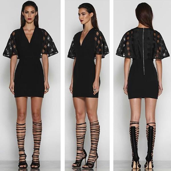dress black dress bandage dress mini dress