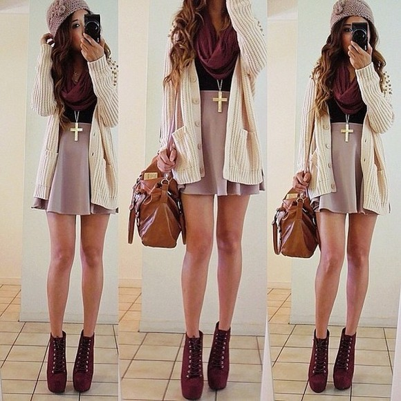 skirt sweater shoes cross necklace scarf boots skater skirt beanie