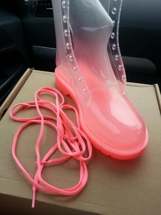 shoes wellies boots clear shoes pink funny love