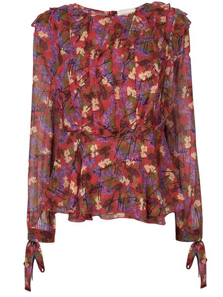 blouse women floral silk top