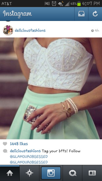 shirt skirt mint skater skirt white top crop tops
