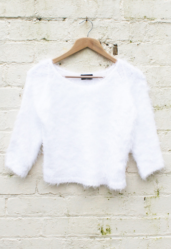 Quarter Sleeve Cropped Fluffy Eyelash Jumper in Optic White