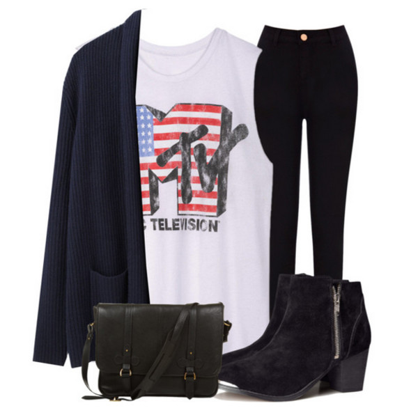 shoes ankle boots high waisted jeans black oversized cardigan muscle tee t-shirt pants bag sweater