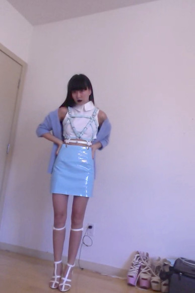leather skirt clothes creepyyeha bondage tumblr pastel pleather latex blue pastel