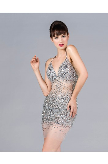 Cinderella - Sheer jewel mini dress