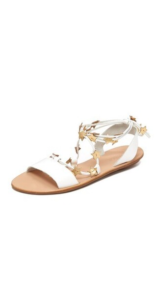 sandals flat sandals gold white shoes