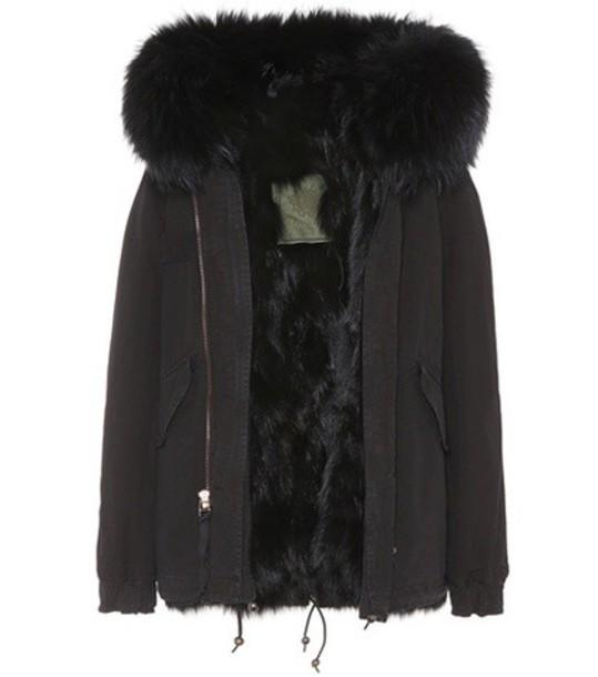 Mr & Mrs Italy parka fur cotton black coat