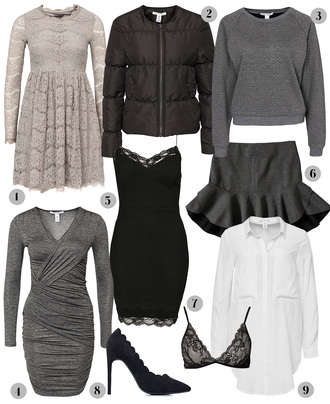passions for fashion blogger underwear grey sweater down jacket lace dress ruffle draped grey dress bra holiday dress