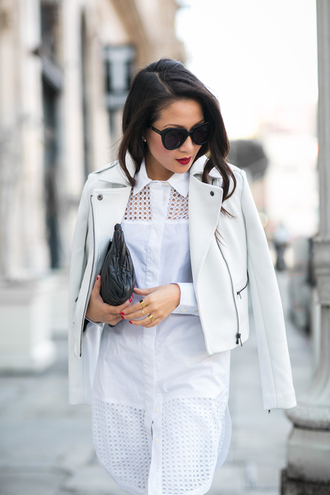 wendy's lookbook blogger perfecto leather jacket white jacket white shirt shirt dress black sunglasses