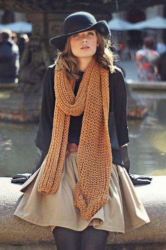 hat scarf oversized scarf skirt short skirt beige camel mustard