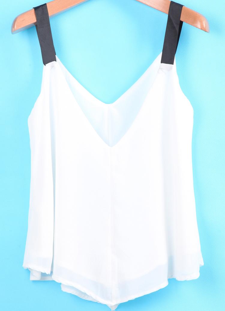 White contrast spaghetti strap chiffon vest