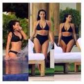 swimwear,kim kardashian,black,high waisted bikini
