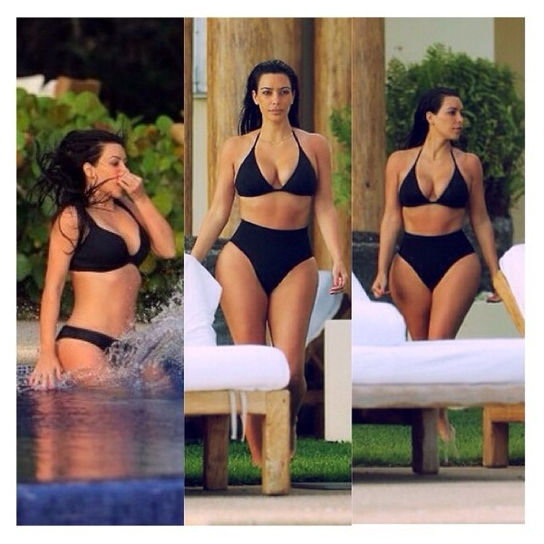 swimwear kim kardashian black high waisted bikini