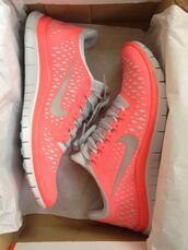 shoes,trainers,peach,pink,nike,tick,white,nike running shoes,nike sneakers,coral,running shoes,nike shoes,running,neon,pink and white,sneakers,pink nike,nike pink,nike air,nike running,women,doy,fit,fitness,girl,fitness gym,nike free run,tumblr