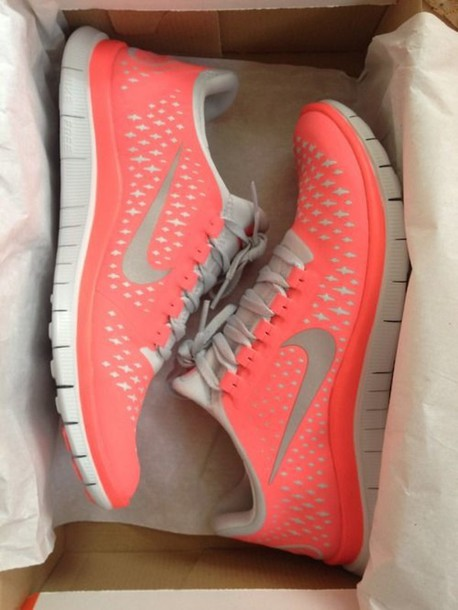 9f06f4e56624 shoes trainers peach pink nike tick white nike running shoes nike sneakers  coral running shoes nike