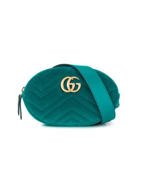 eea102e6573 Gucci - Teal Blue Marmont Matelassé belt bag - women - Leather Velvet - One