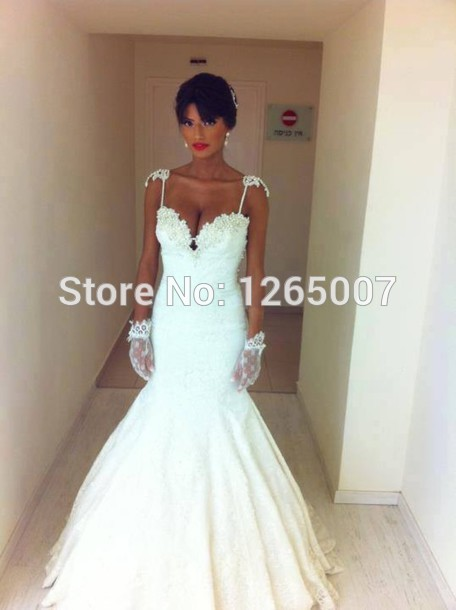Aliexpress.com : Buy Fashion Spaghetti Traps Sweetheart Pearl Beaded Lace Mermaid Wedding Dresses Elegant New Fashion from Reliable dresses girls size 14 suppliers on SFBridal