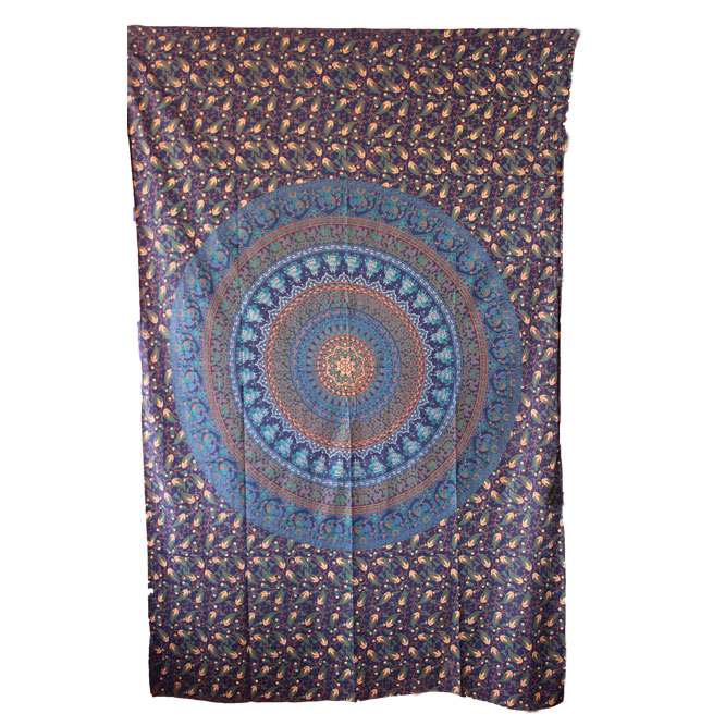 Blue Color Elephant Hippie Mandala Wall Tapestries - HandiCrunch.com