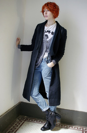 de lune,blogger,cardigan,t-shirt,jeans,suspenders,denim,coat
