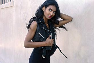 tuolomee blogger leather vest vest leather jacket black vest sleeveless
