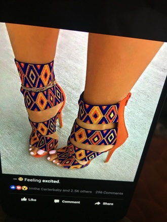 shoes high heel sandals african print tribal pattern