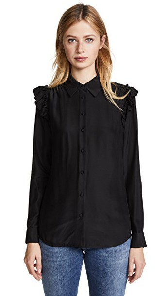 blouse long ruffle noir top