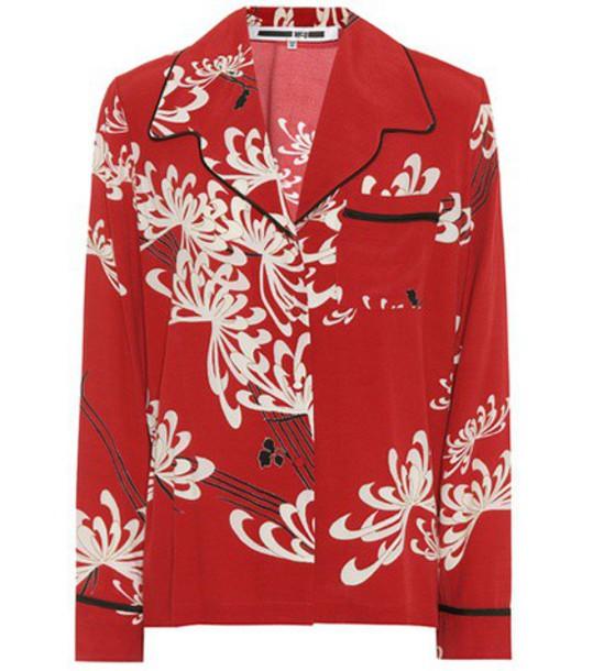 shirt printed shirt red top