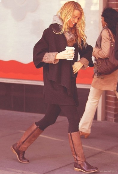 shoes boots riding boots brown boots brown riding boots two toned boots blake lively coat