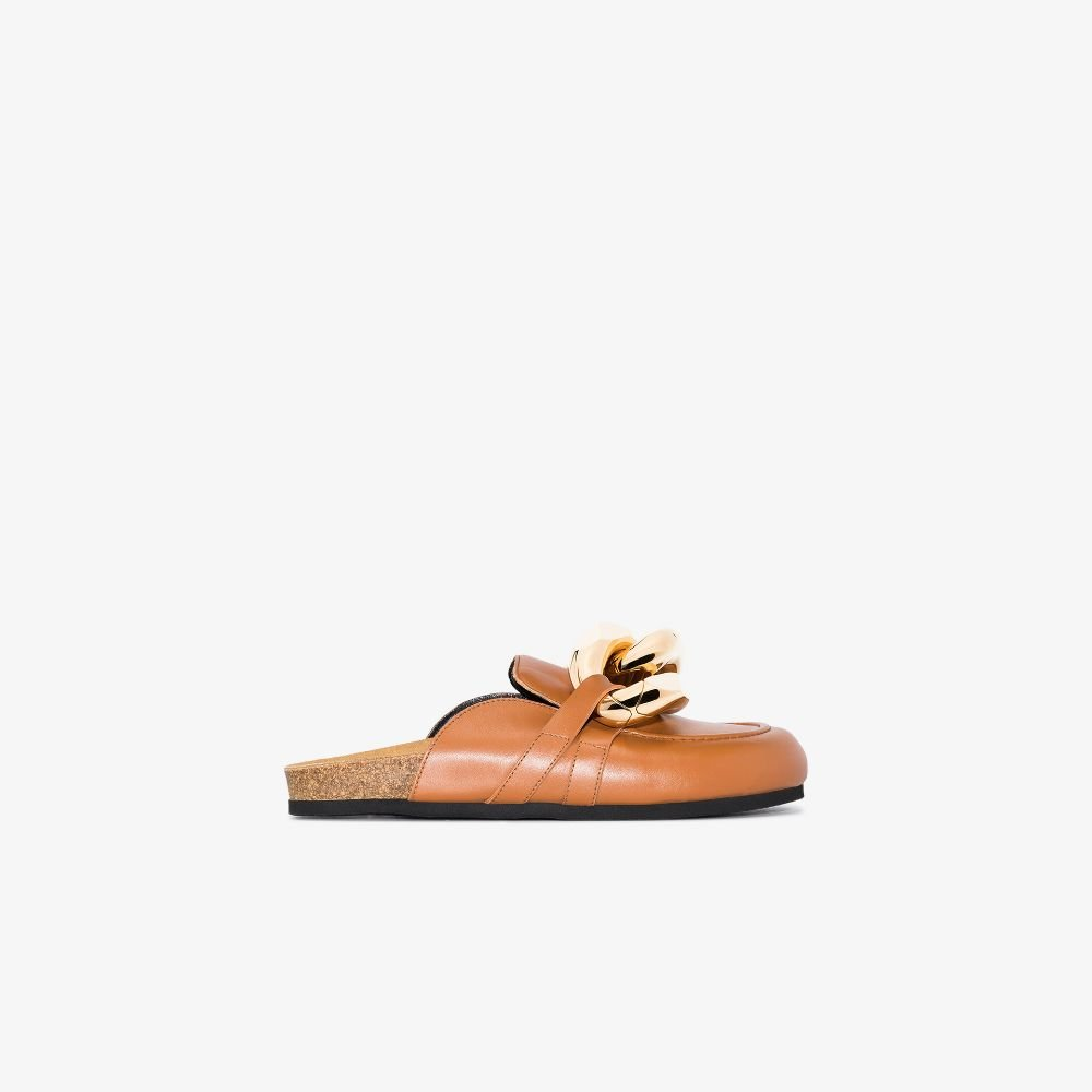 JW Anderson - Women's Brown Chain Leather Loafer Mules