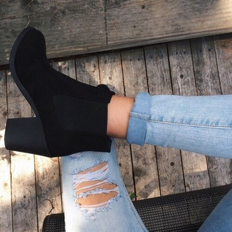 shoes black boots booties weheartit