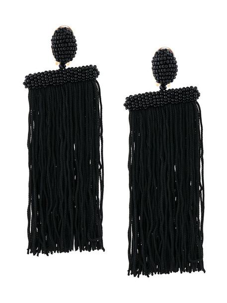 oscar de la renta long metal tassel women beaded earrings black jewels