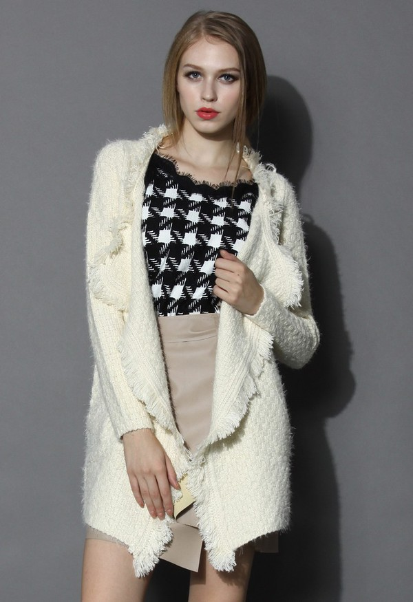 cardigan chicwish knitted open cardigan tassel