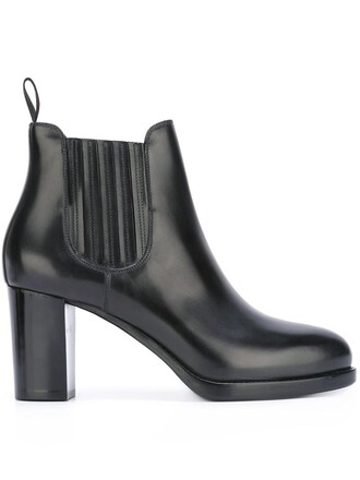 heel chunky heel women boots chelsea boots leather grey shoes