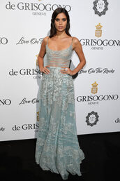 dress,cannes,model,sara sampaio,maxi dress,lace dress,lace,gown,prom dress