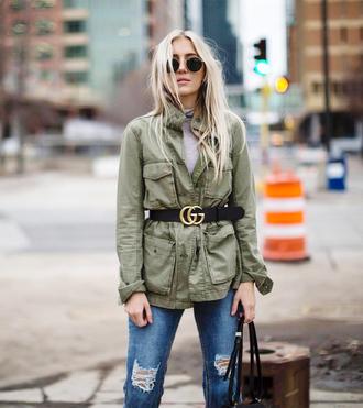 jacket tumblr army green jacket parka belt denim jeans blue jeans sunglasses round sunglasses