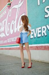 shorts,tumblr,denim,denim shorts,chambray,top,white top,pumps,pointed toe pumps,high heel pumps,red heels,bag,red bag,summer outfits,shoes
