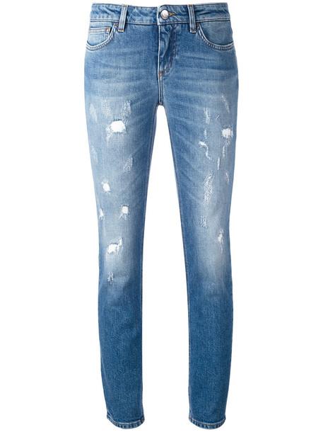 Dolce & Gabbana jeans skinny jeans women spandex leather cotton blue