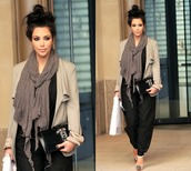 pants,kim kardashian,swimwear,sweater,scarf