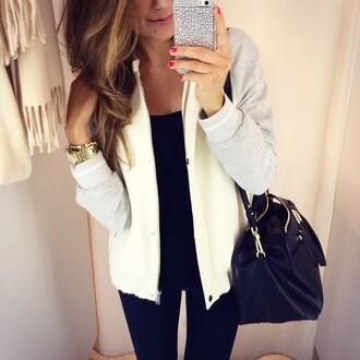 jacket beige grey baseball jacket college cream mariannan