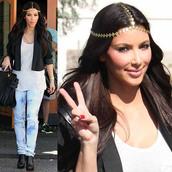 headpiece,kim kardashian,jeans