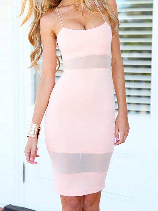 Nextshe 2014 pink mesh spliced crossed tie back bodycon dress in knee length
