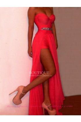Length natural sleeveless prom dress